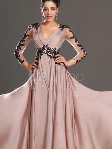 820d8fe36 Vestidos Largos de Fiesta rosa Vestido largo de gasa con ilusión de ...