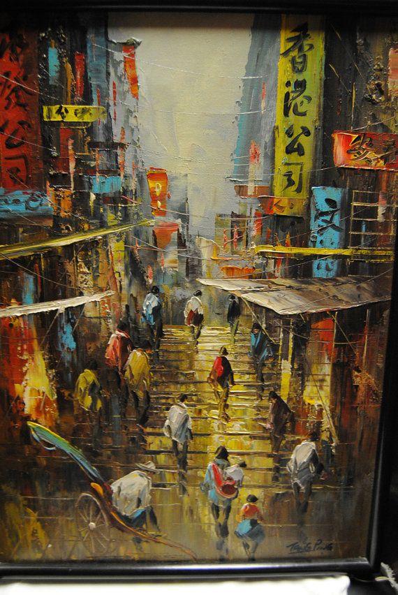 Vintage Tang Ping Oil Paint Street In Hong Kong In By