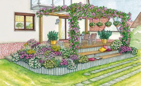 So binden Sie eine erhöhte Terrasse in den Garten ein | Pergola ...