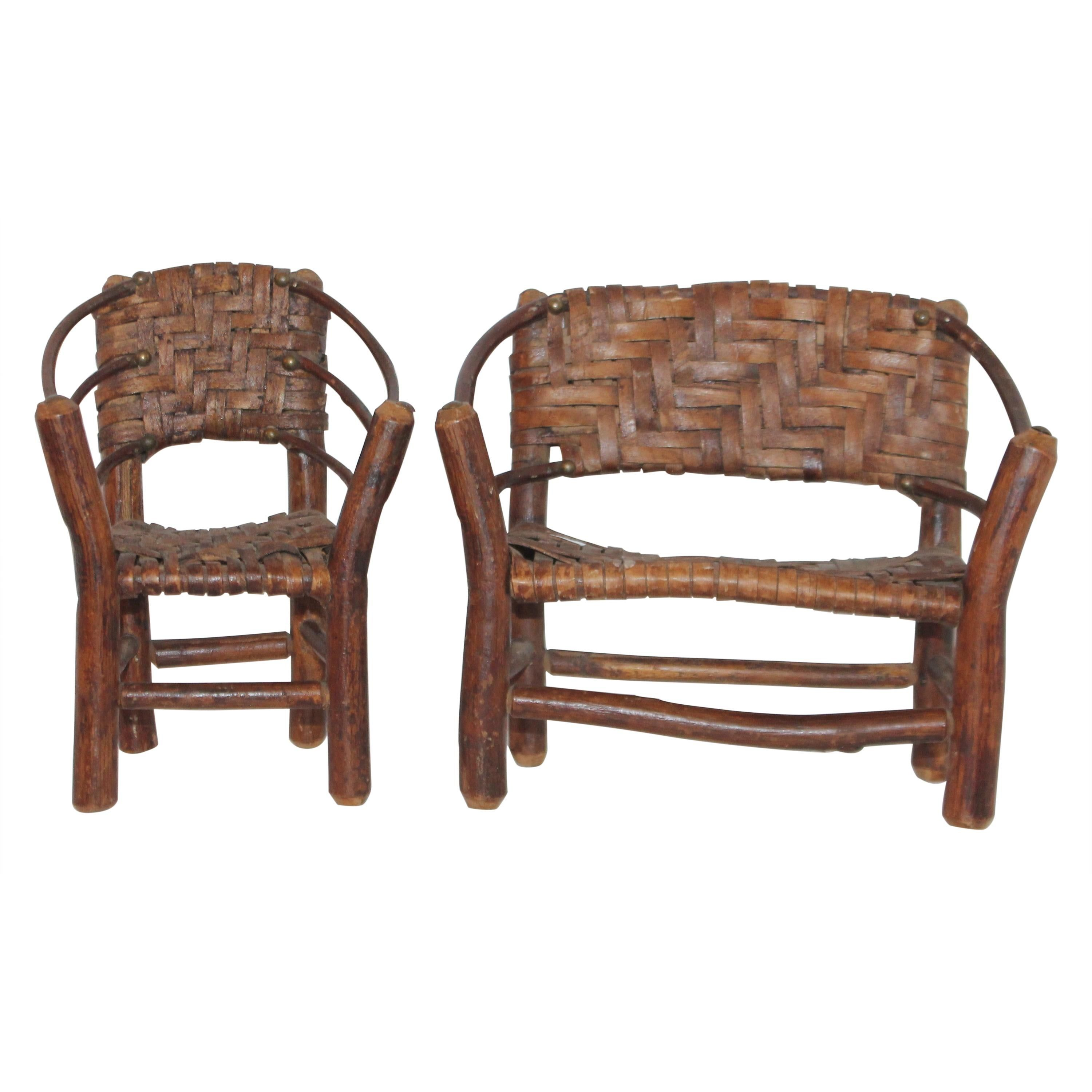 Salesman Sample Old Hickory Settee and Chair in 2020 Old