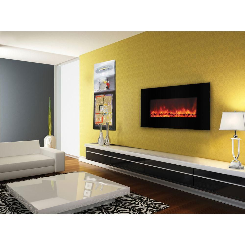 Carbon Flame 40 in. Wall-Mount Electric Fireplace in Black | Wall ...