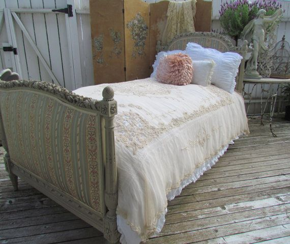 Antique 18th century French Louis XVI Rose Carved Bed