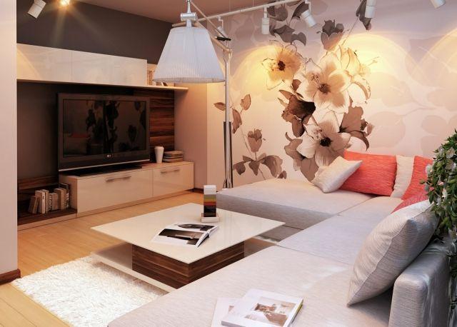 Wunderbar Ideen Wohnzimmer Einrichten Neutrale Farben Weiss Grau Tapete Blumenmuster