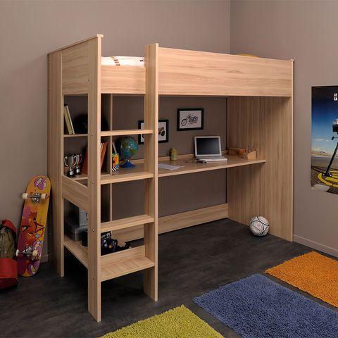 Lit Mezzanine 90 X 200 Cm Truk Lit Mezzanine Auchan Lit Enfant Lit Sureleve Avec Bureau Et Idee Deco Chambre Enfant