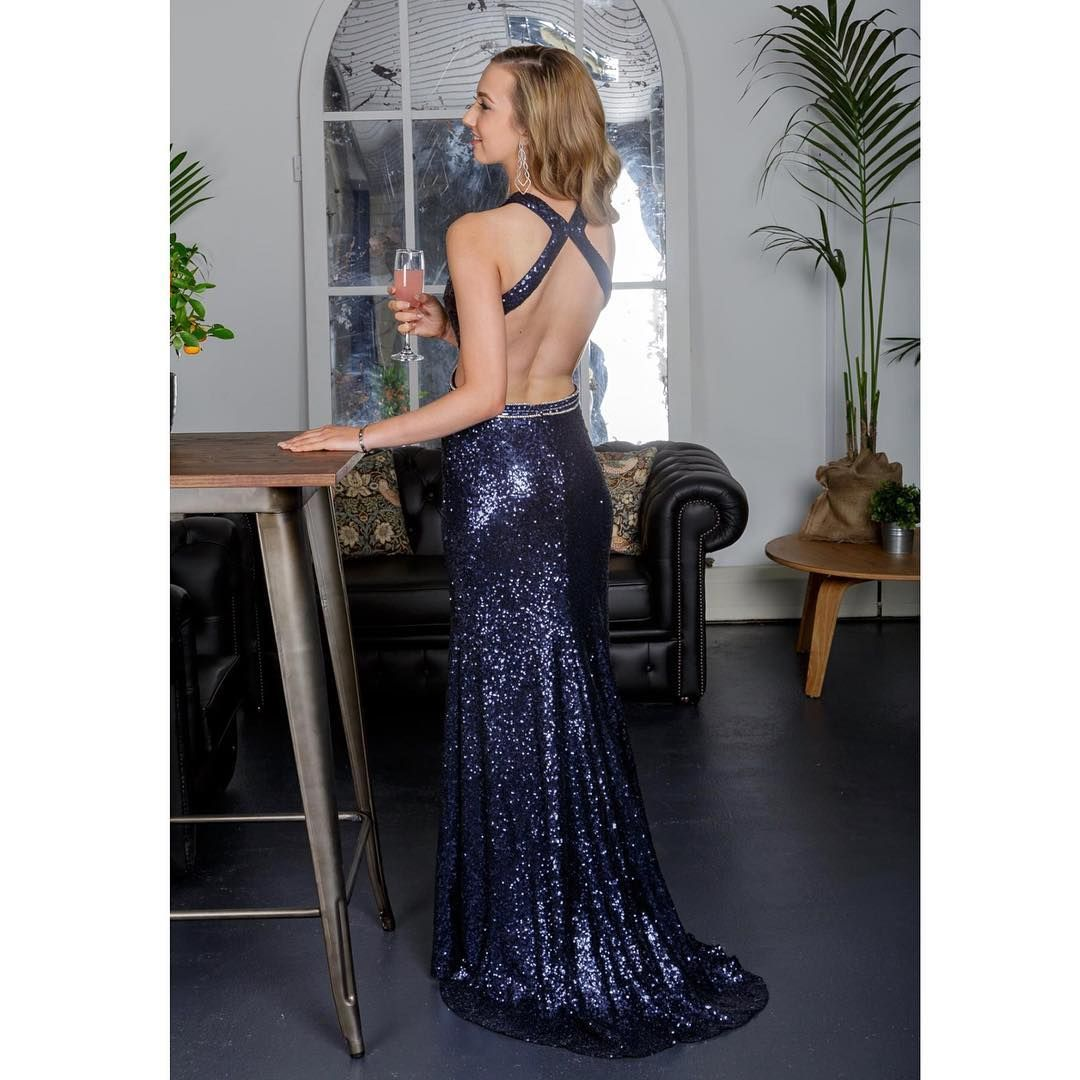 Sparkly prom dress prom dress navy blue prom dress mermaid