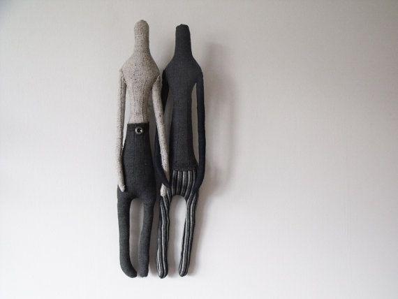 Soft Sculpture  Same Sex   Couple  2 Art Dolls  Minimalist by Oyez