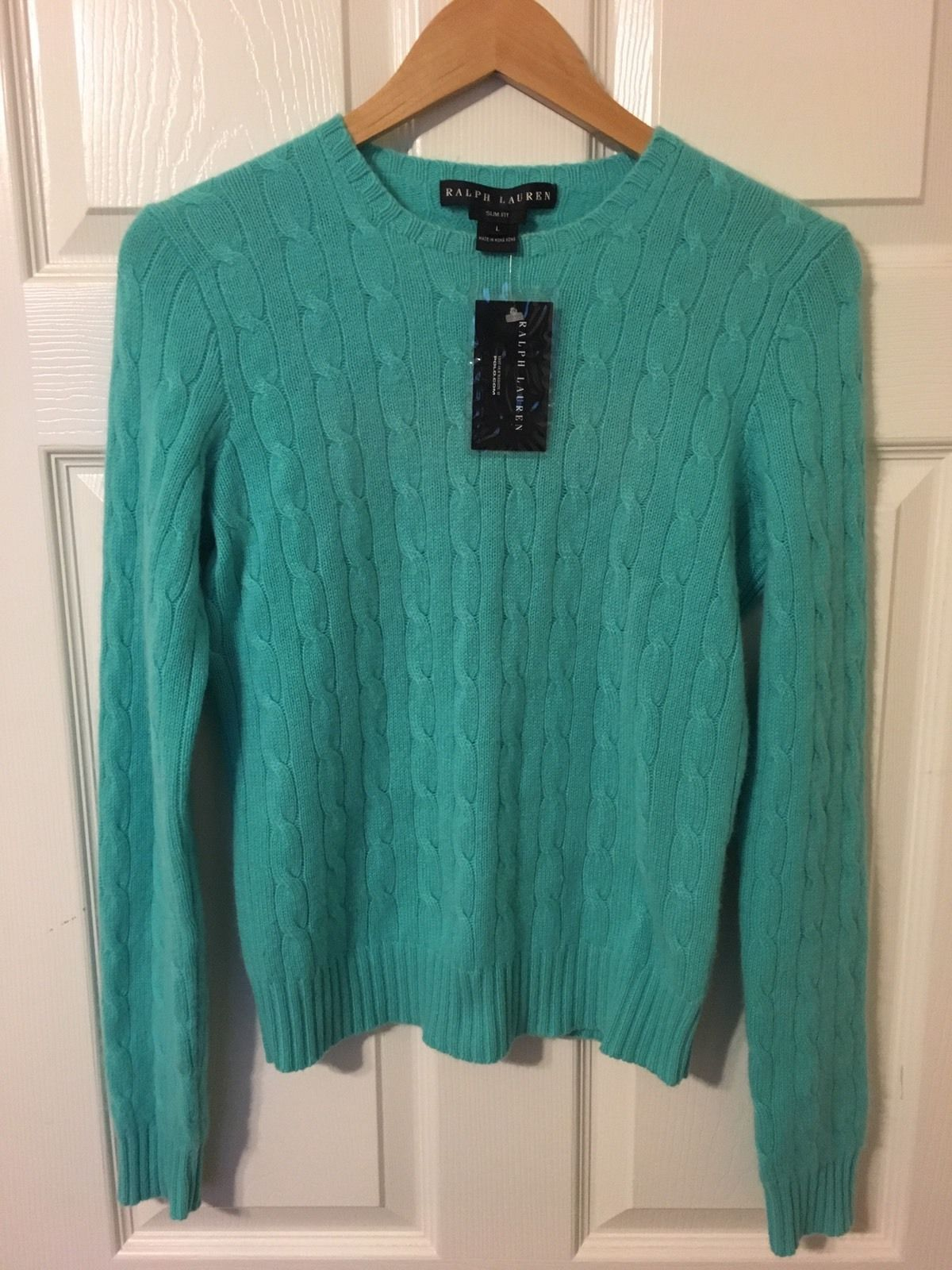 NWT Ralph Lauren Black Label Cable-Knit Turquoise Blue Cashmere ...