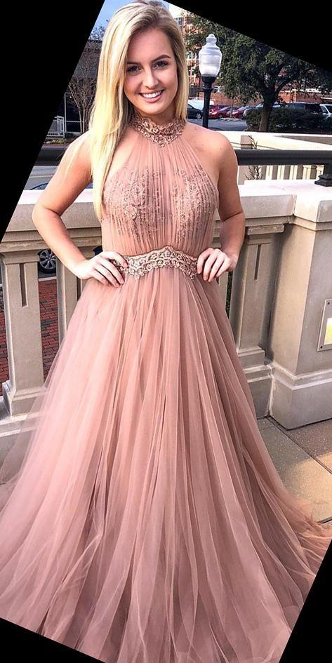 Halter Beaded Tulle Appliques Prom Dress Custom Made Long Pink School Dance Dresses Fahion A-line Tulle Beadings Evening Party Dresses SPD110 #schooldancedresses