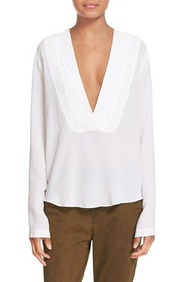 f24d9a7454d0f6 Free shipping and returns on A.L.C.  Carody  Deep V-Neck Silk Blouse at  Nordstrom.com. A plunging V-neckline defines a fluid blouse tailored from  pure