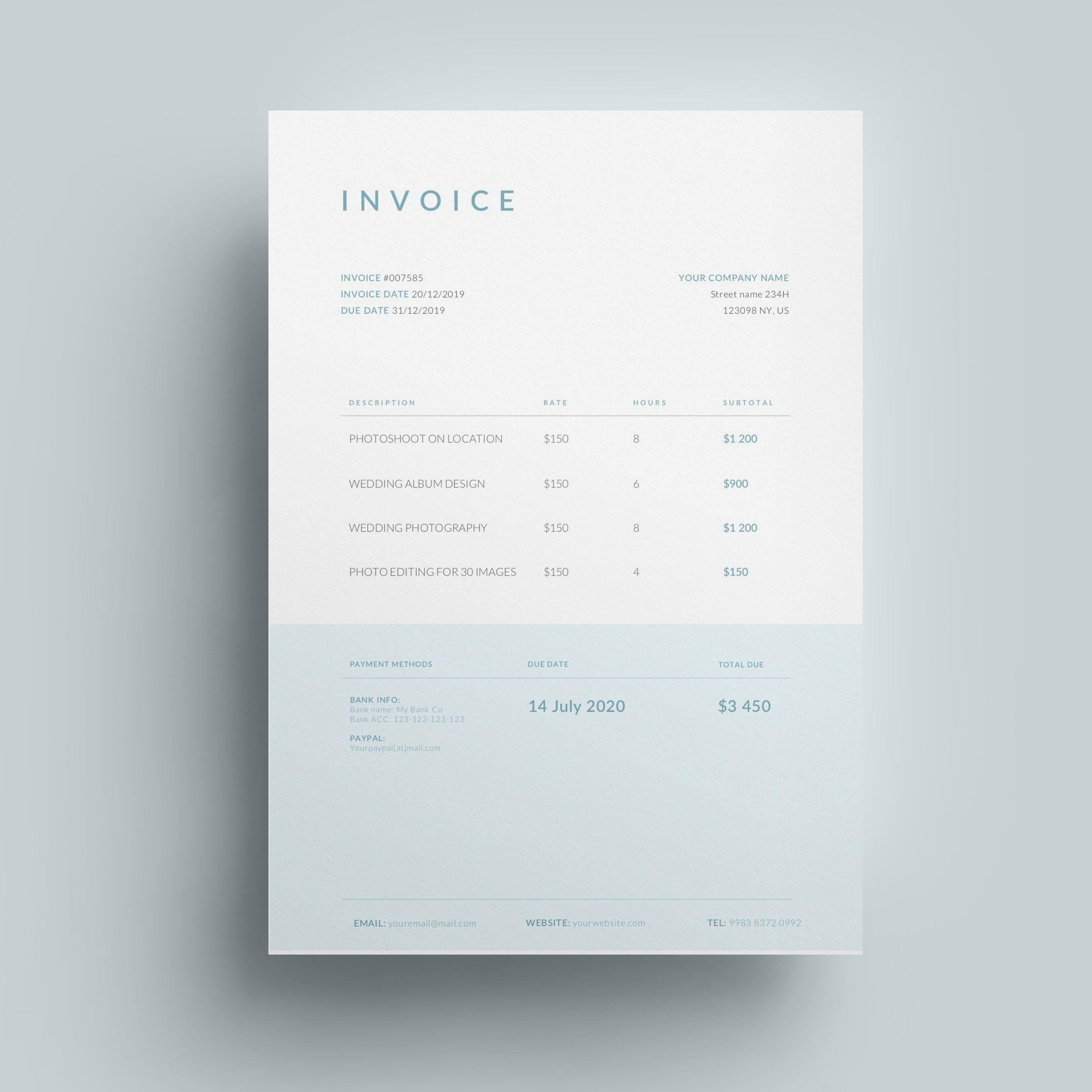 Invoice Template, Business Invoice, Receipt Template, Photography Invoice Template, Printable Invoice, Invoice Design Form Printable Receipt
