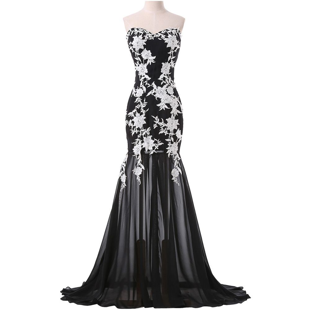 Black Chiffon White Lace Sweetheart Mermaid Sweep Train Evening ...