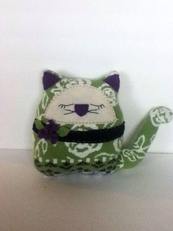Green rose print angora cat pillow on Etsy, $18.00
