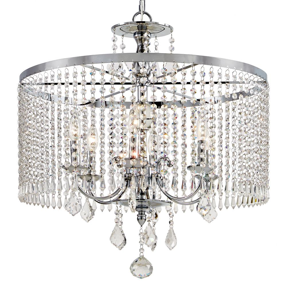Home Decorators Collection 6 Light Polished Chrome Chandelier With K9 Crystal Dangles Chrome Chandeliers Crystal Chandelier Lighting Polished Chrome
