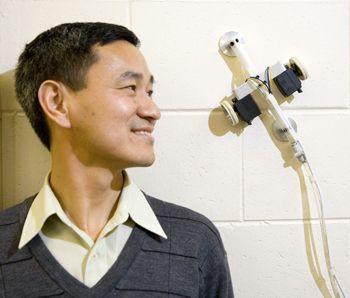 Mijn professor met de robot
