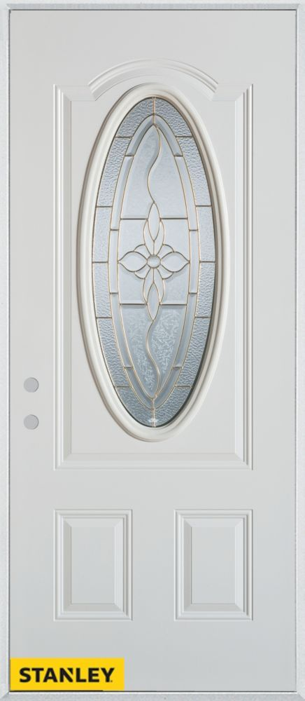 37.375 inch x 82.375 inch Trellis Brass 3/4 Oval Lite 2-Panel Prefinished White Right-Hand Inswing Steel Prehung Front Door