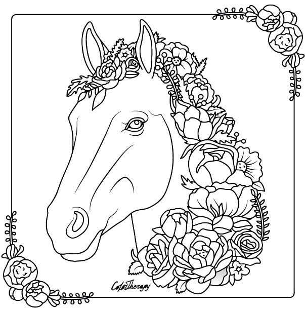 Relaxing coloring pages for teens ~ Horse colouring page   Color Therapy App is fun and ...