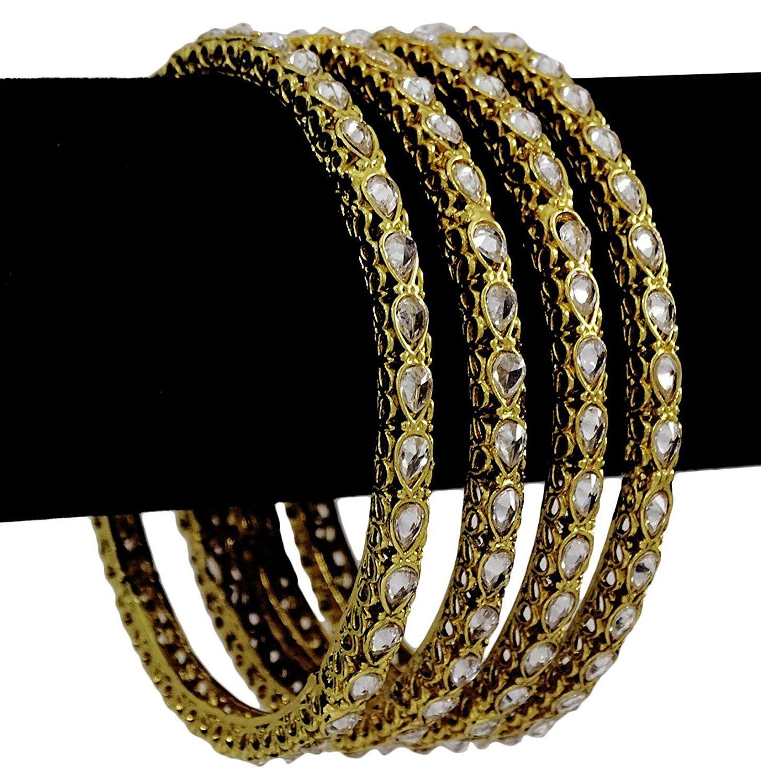 Matra traditional kundan polki women pcs kada bracelets churi