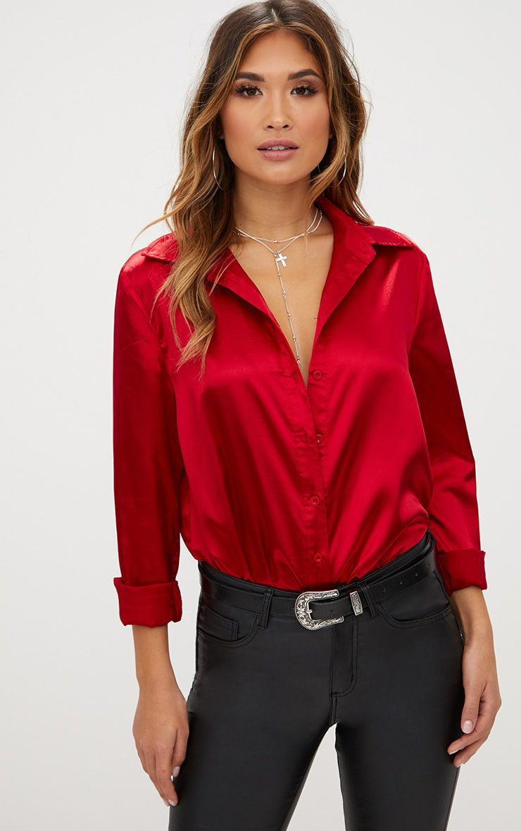 c7926b954c6631 Champagne Satin Button front Shirt in 2019