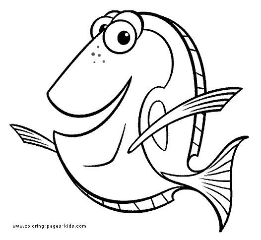 Dory Finding Nemo Coloring Page Disney Pages Color Plate Sheet
