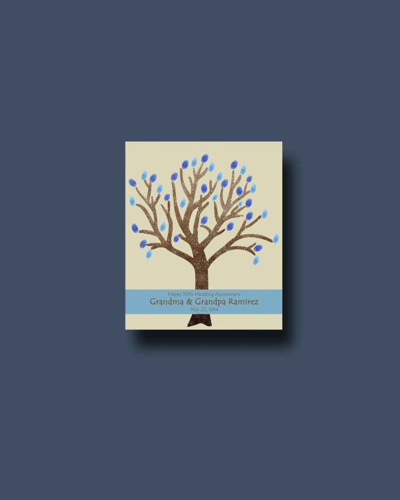 Unusual 50th Wedding Anniversary Gifts: 50th Anniversary Thumbprint Tree Unique Anniversary By