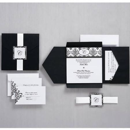Wilton Invitation Kit Black White Scroll Monogram 25 Ct