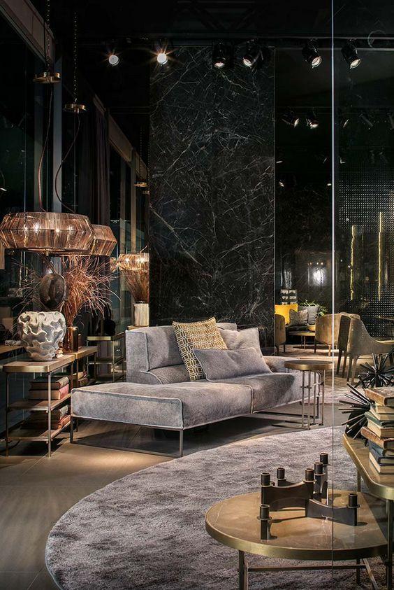Schwarzes Wohnzimmer | Dekor Inspirationen  #dekor #inspirationen #schwarzes #wohnzimmer #dunkleinnenräume