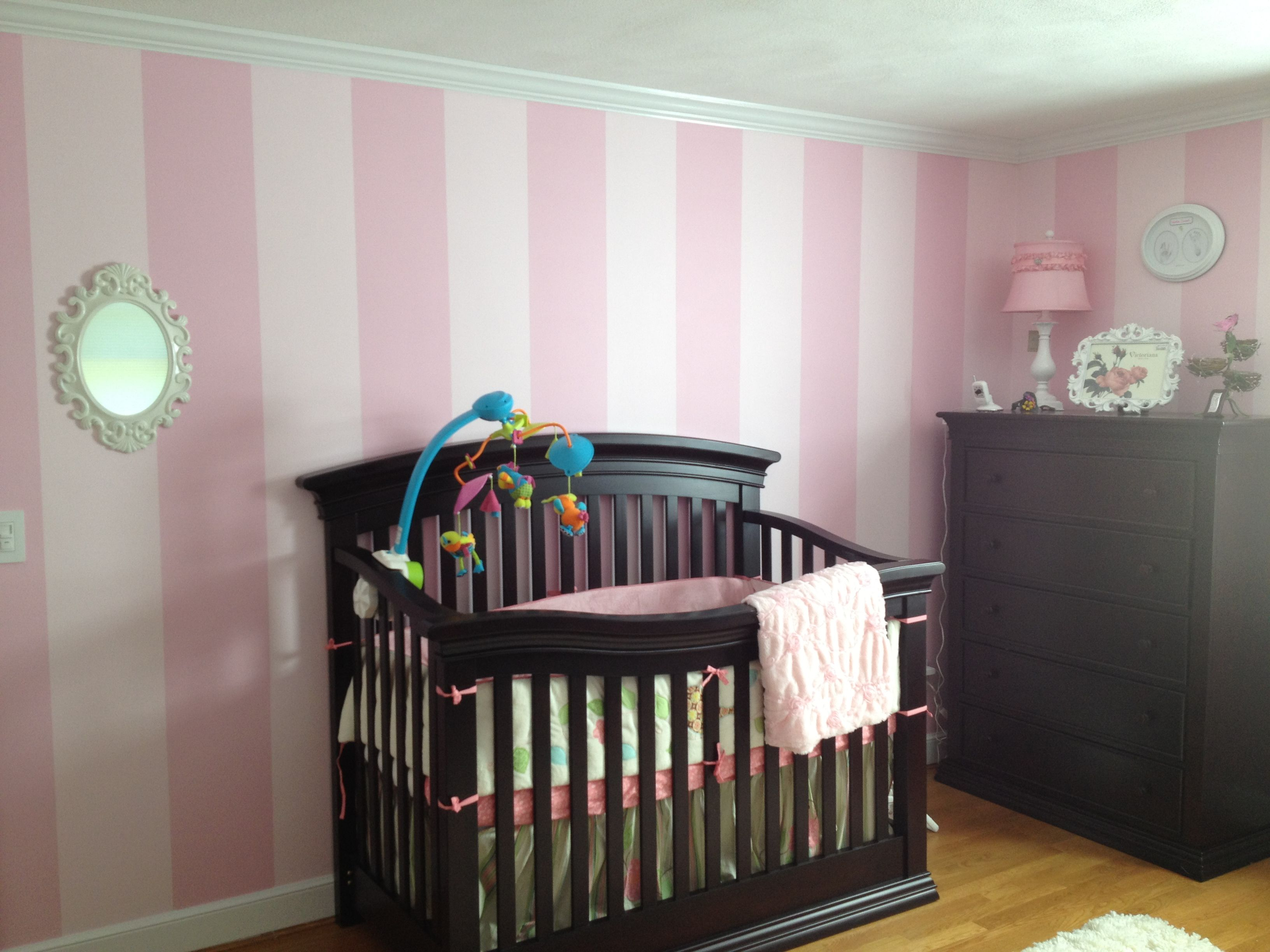 Valentina S Pink And Light Pink Striped Nursery Dark Furniture And White Baroque Accents Kid Room Decor Striped Nursery Light Pink Walls