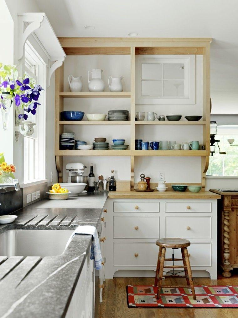 Color blanco y madera de roble para las cocinas modernas for Estanterias cocinas pequenas