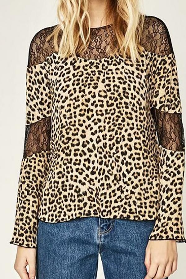 Sexy Chic Loose Leopard Print Lace Round Neck Long Sleeve Blouse 3