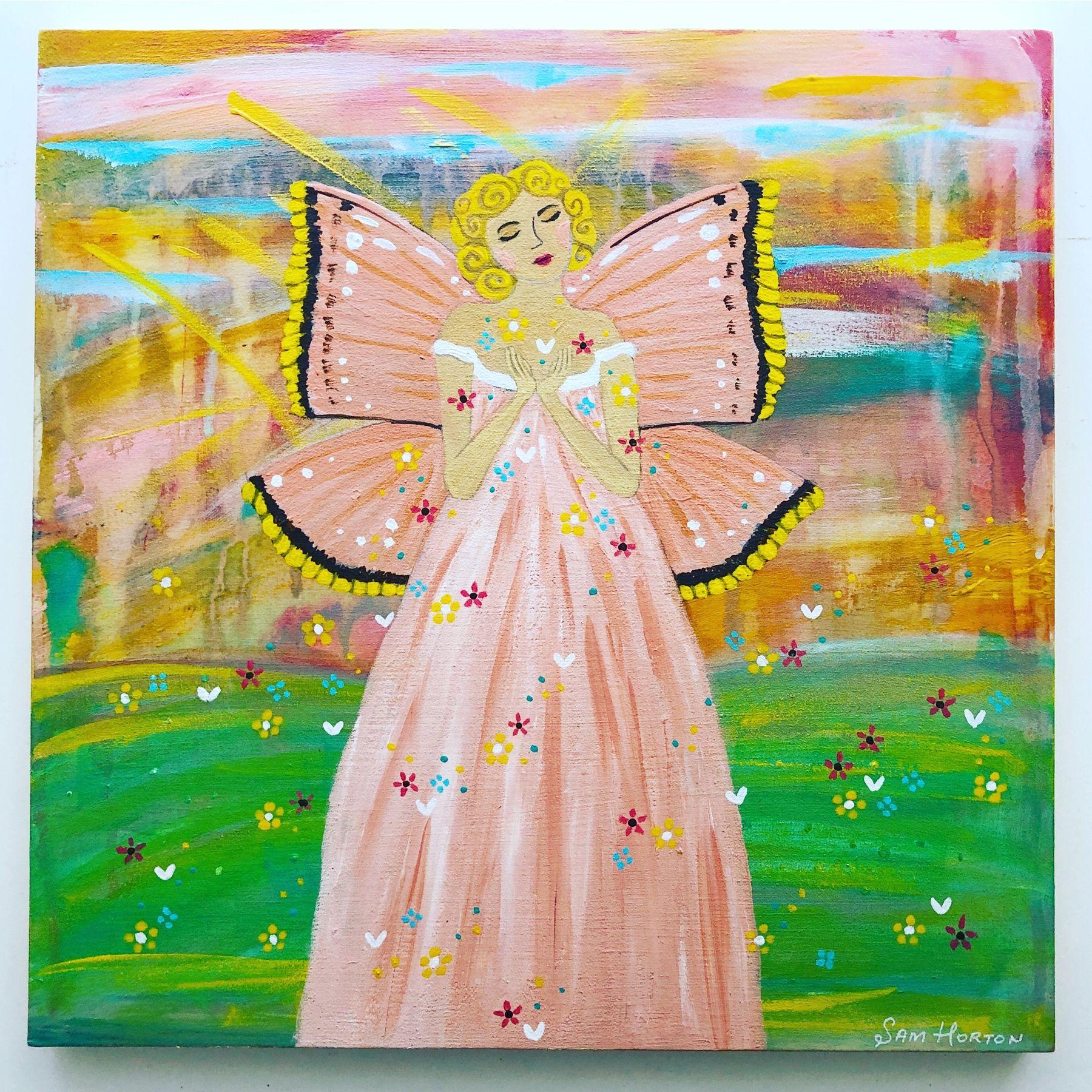 New Butterfly Lady Painting - 'Sunlit Angel' 💗☀️ Acrylic on 12 x 12 inch Wood Panel . . #Butterflyart #butterflygirl #butterflylady #acrylicpainting #acrycliconwood #angelpainting #whimsy #makebelieve #lovetopaint #aussieart #australianartist #creativeliving #creativelife #dowhatyoulove #trusttheuniverse #choosemust #abstractbackground #findyourflow #australianart #prettypainting #girlsart #girlsroomart #artexperiment #artpractice #doitfortheprocess #artflow #folkart #folkartist