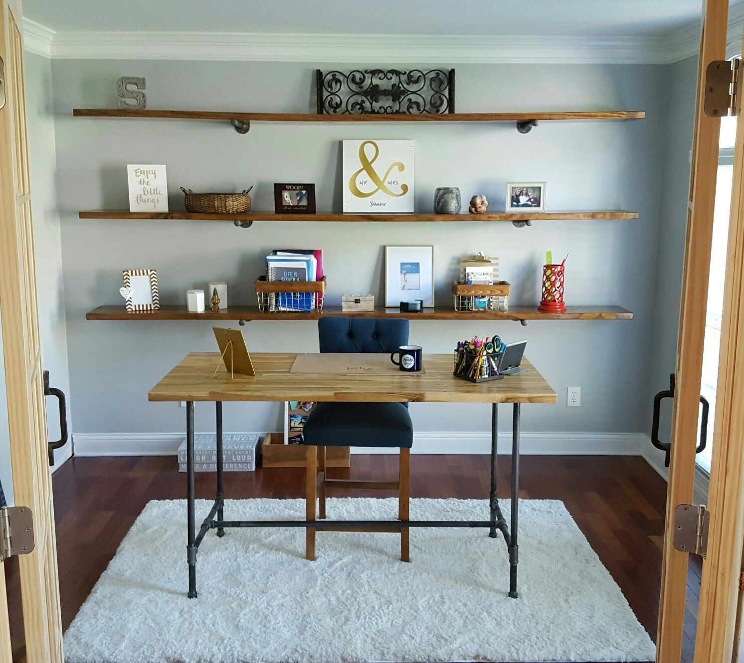 My Awesome Office My Hubby Did For Me! DIY Butcher Block Desk DIY Shelves #