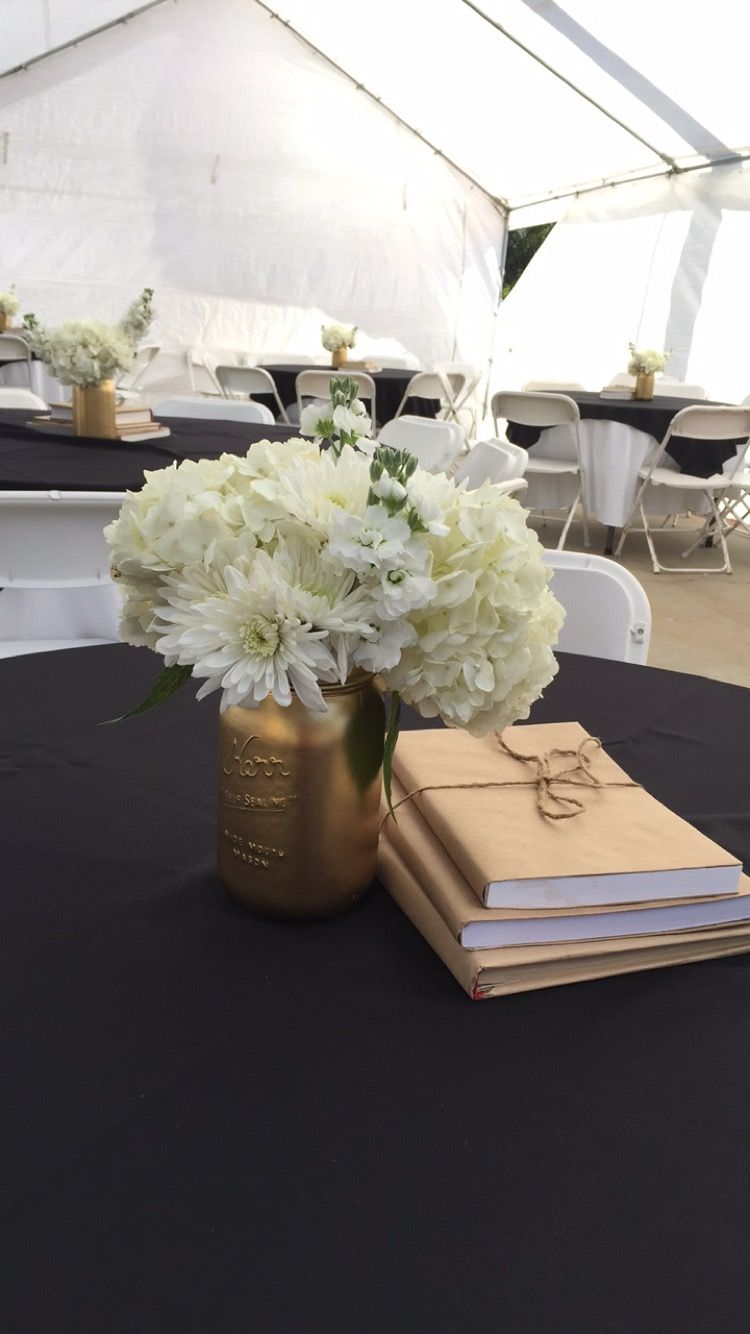 Graduation party black and gold table centerpiece