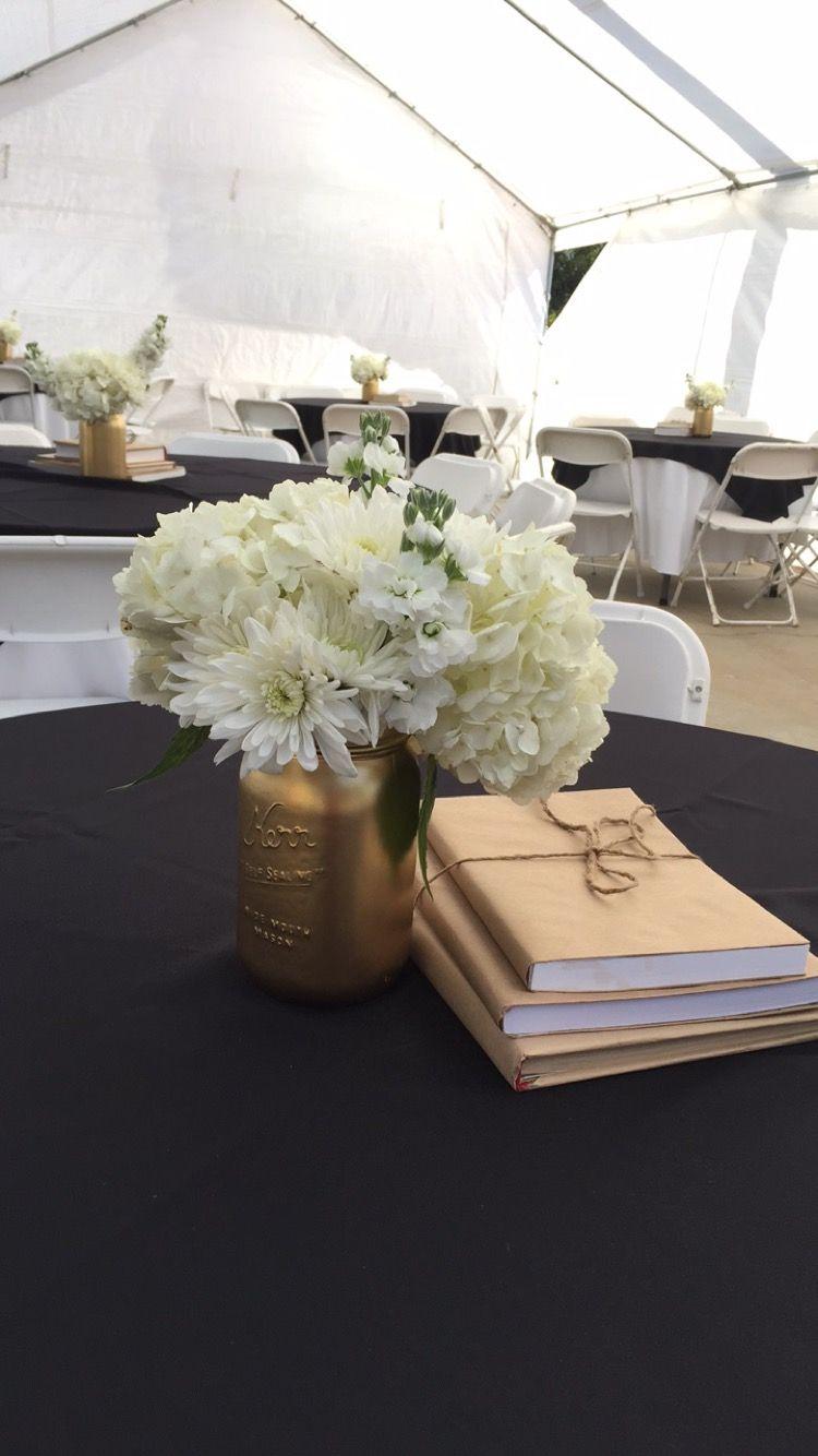 graduation party black and gold table centerpiece black. Black Bedroom Furniture Sets. Home Design Ideas
