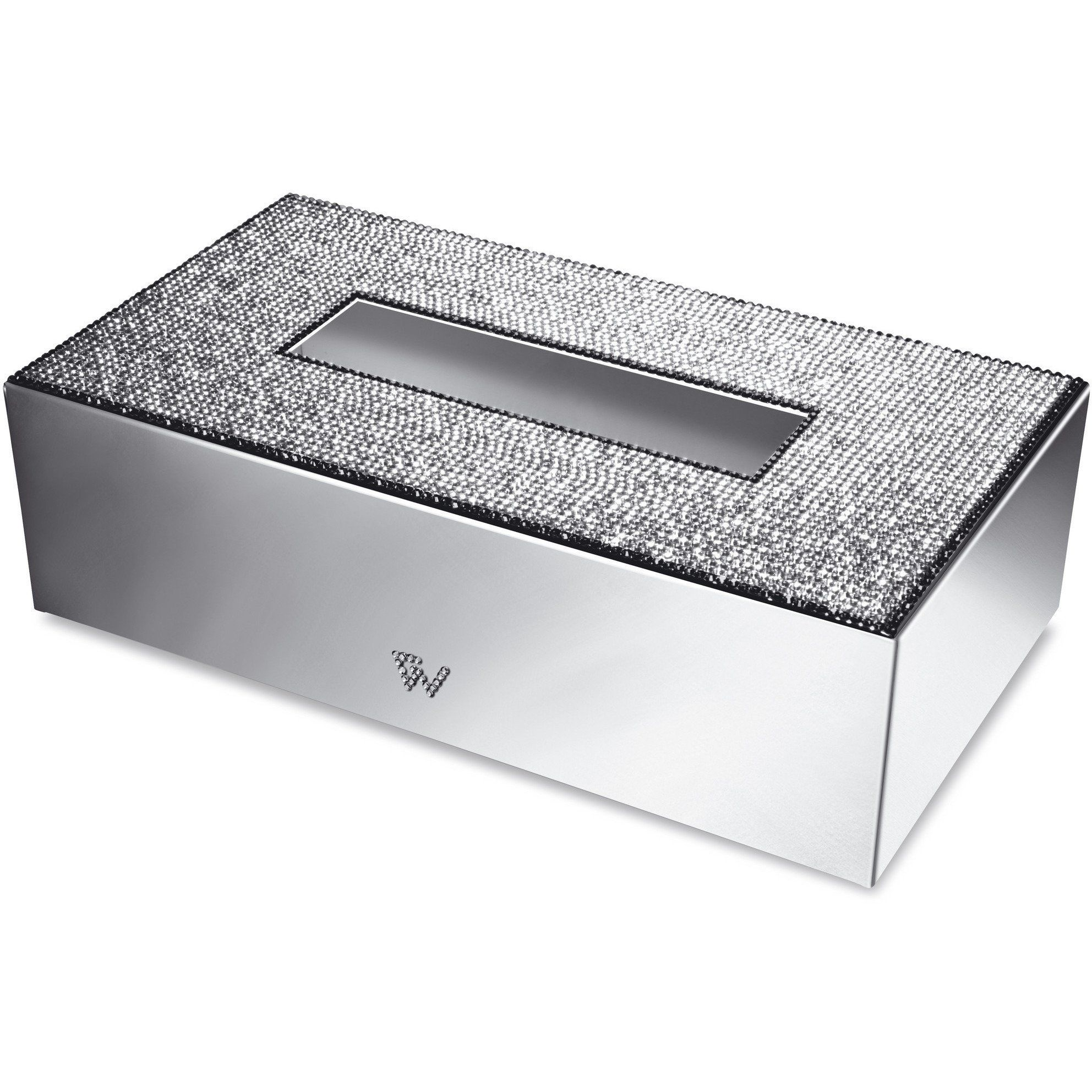 Starlight Rectangular Tissue Box Cover W Swarovski Crystals Available In Chrome Or Gold Made Of Br With Crystal Elements Inlaid At The Top