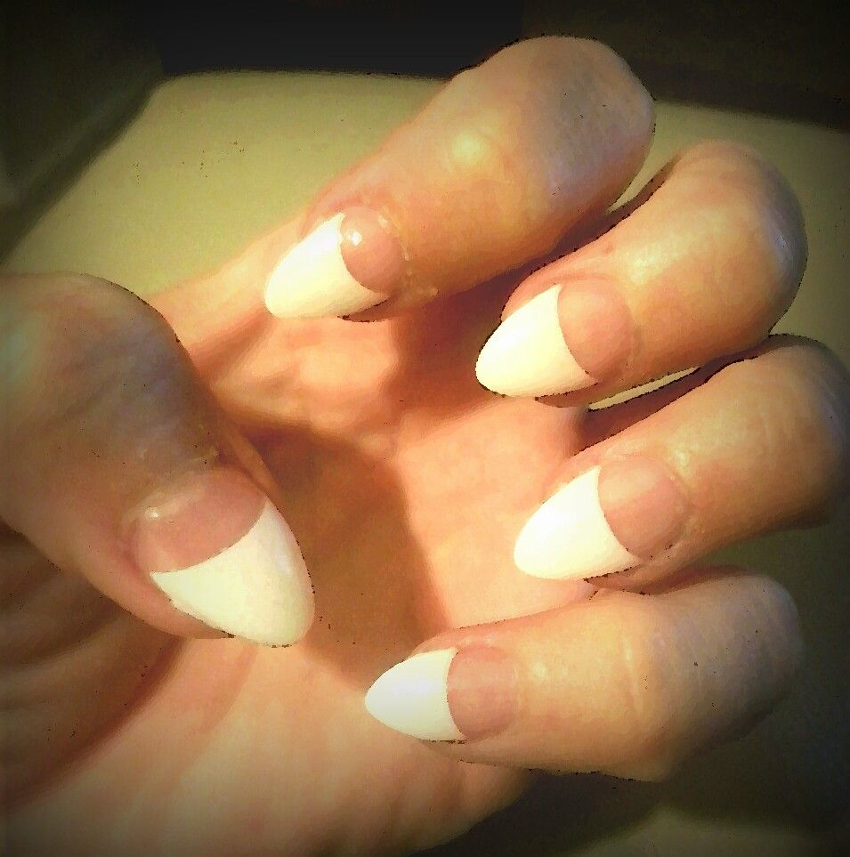 Stiletto nails, yet professional! Short, french tip nails. | makeup ...
