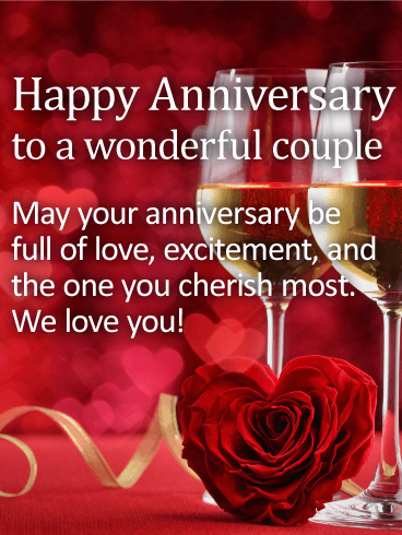 To A Wonderful Couple Happy Anniversary Card Birthday Greeting Cards By Davia Happy Anniversary Friends Happy Wedding Anniversary Wishes Happy Anniversary Wishes