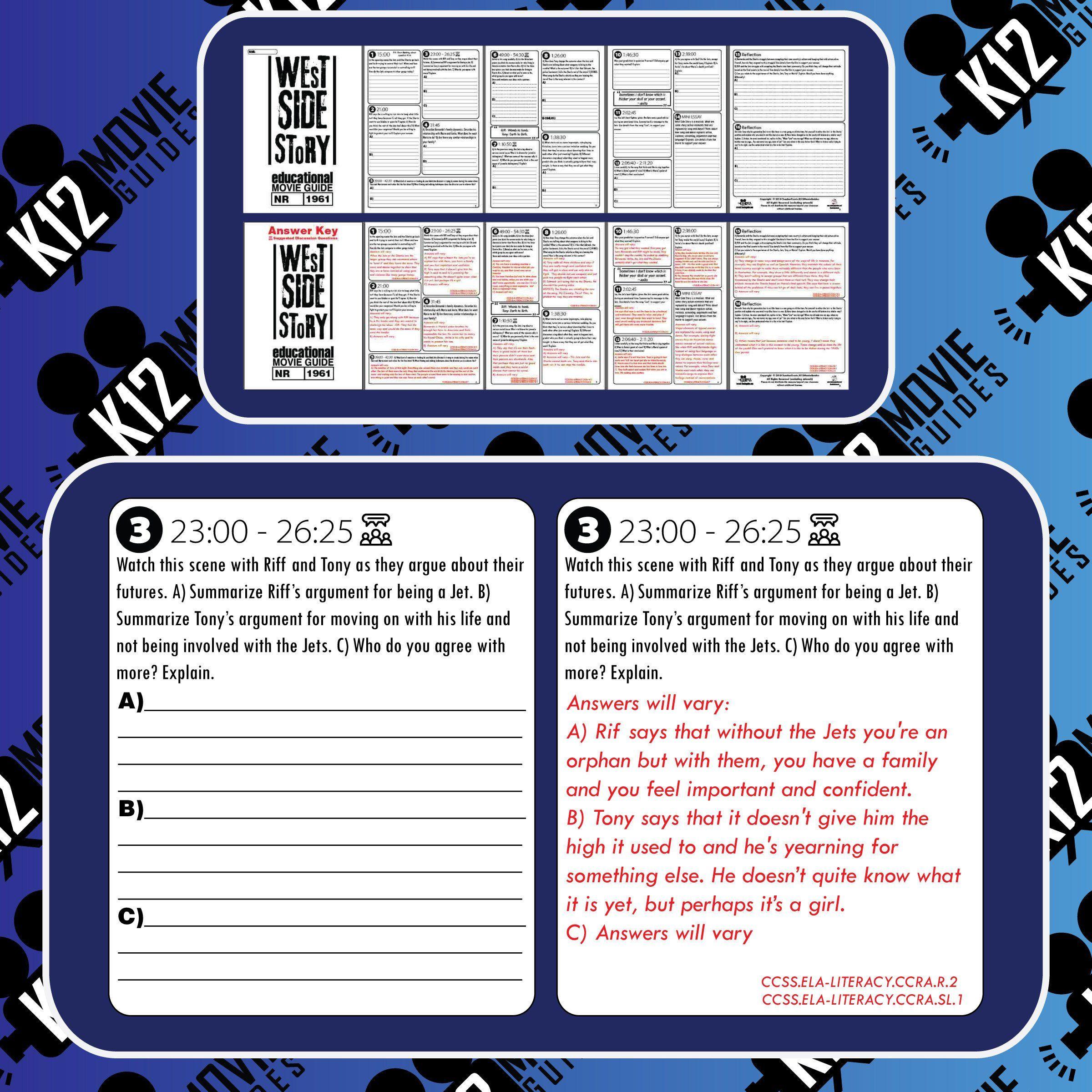 West Side Story Worksheet West Side Story Movie Guide