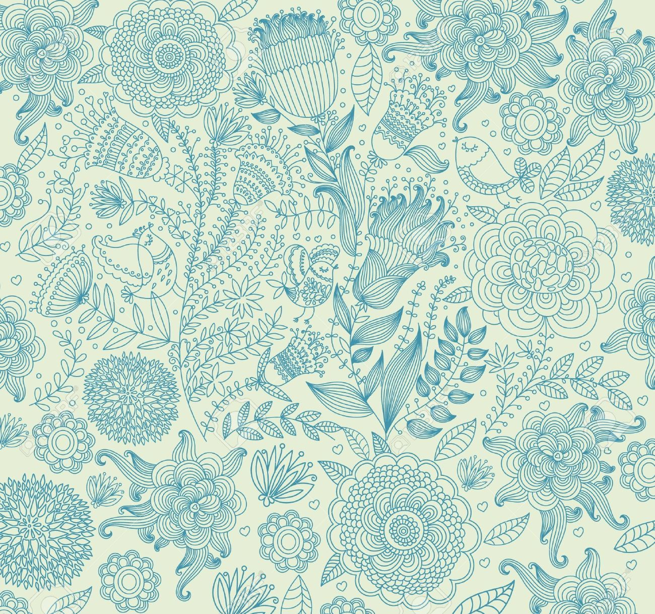 Blue Green Floral Background Papers