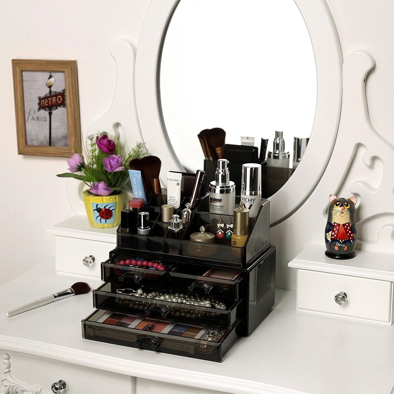 Songmics Black Transparent Makeup Organizer Acrylic Storage Box