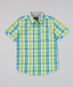 Look what I found on #zulily! Nautica Bright Green Plaid Button-Up - Infant, Toddler & Boys by Nautica #zulilyfinds