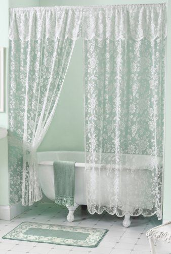 Rose Lace Shower Curtain With Images Shabby Chic Shower