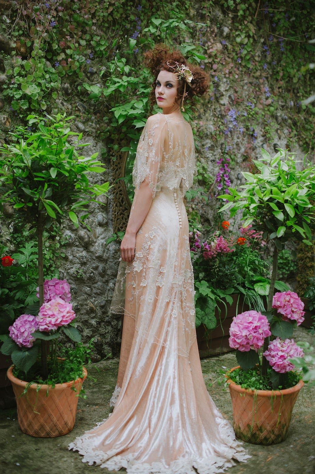 Edwardian Inspired Silk Velvet Wedding Gown With Embroidered Tulle Detail