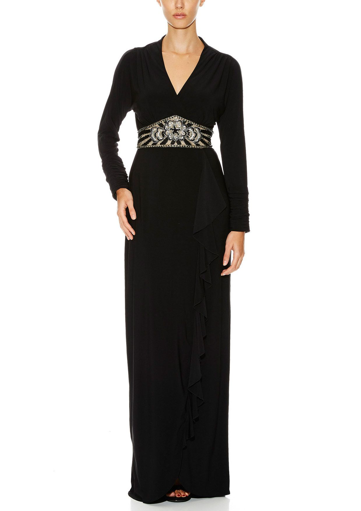 Sue wong long sleeve vneck gown ideel style pinterest