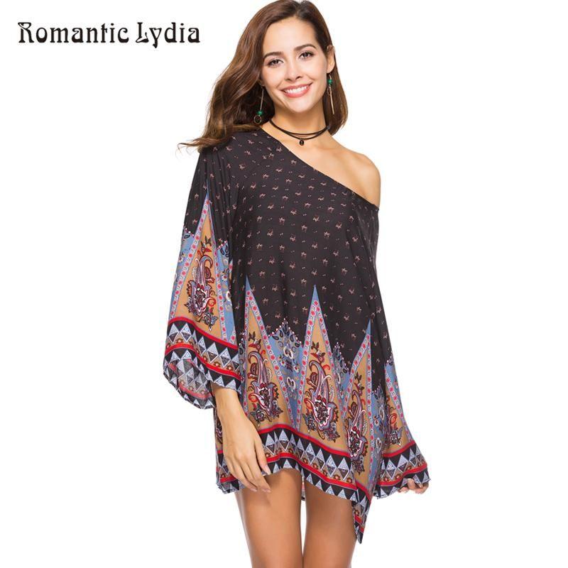 68960fa620 Summer Women Floral Boho Fashion Long Sleeve Print Retro Loose Beach Mini Casual  Dress Plus Size Vestidos New Arrival 2018
