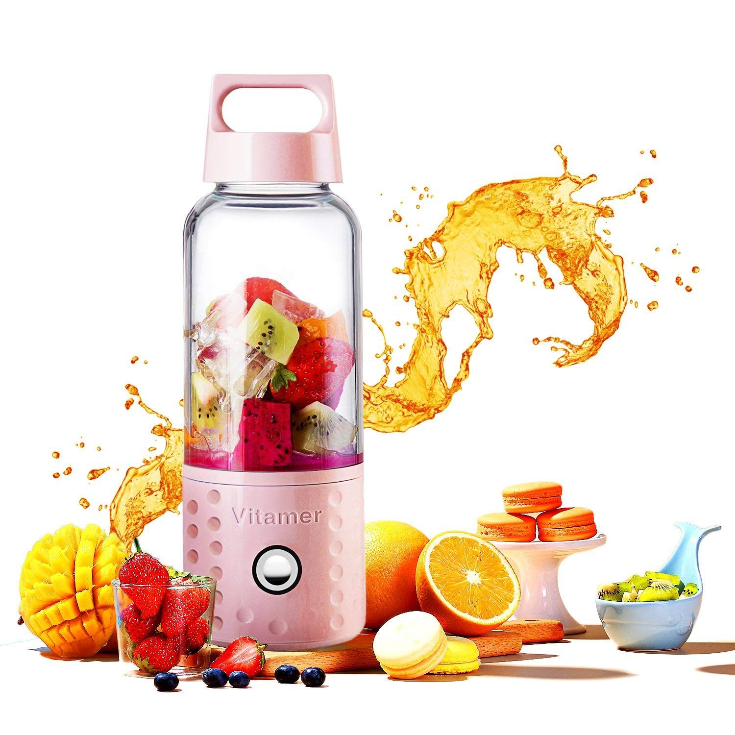Fdit 500ml USB Rechargeable Portable Electric Vegetable Fruit Juicer Cup for Home Office Travel black