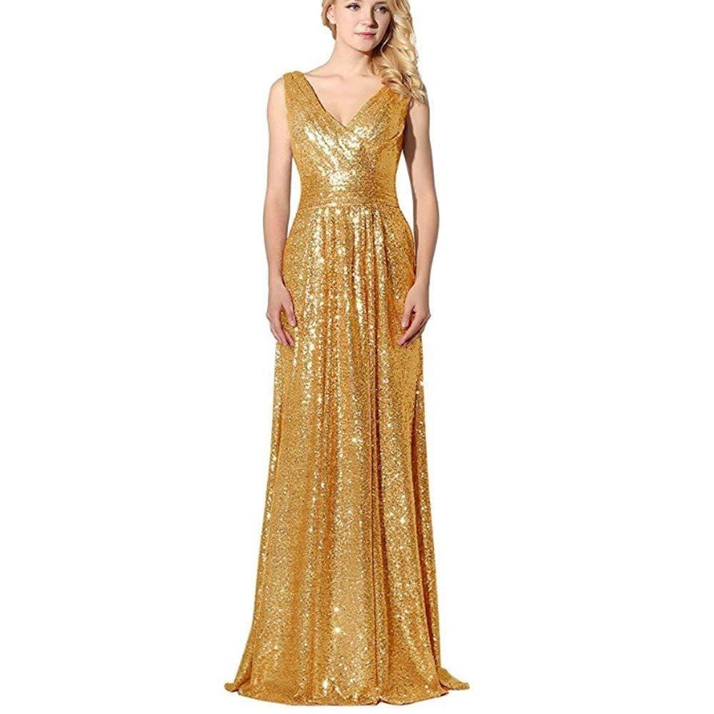 Rudina customized vneck sequins rose gold prom dress formal evening