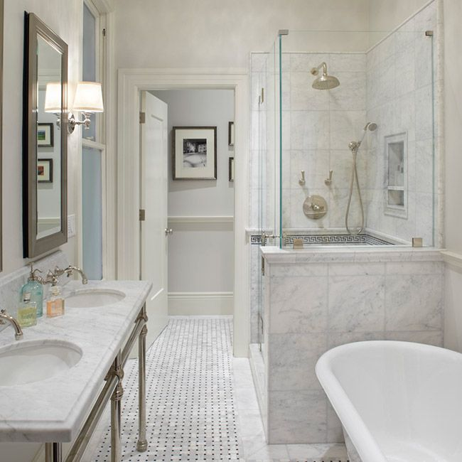 Anyon Interior Design Gorgeous Master Bathroom With Marble Basketweave Tiles Floor Claw Foot Tub