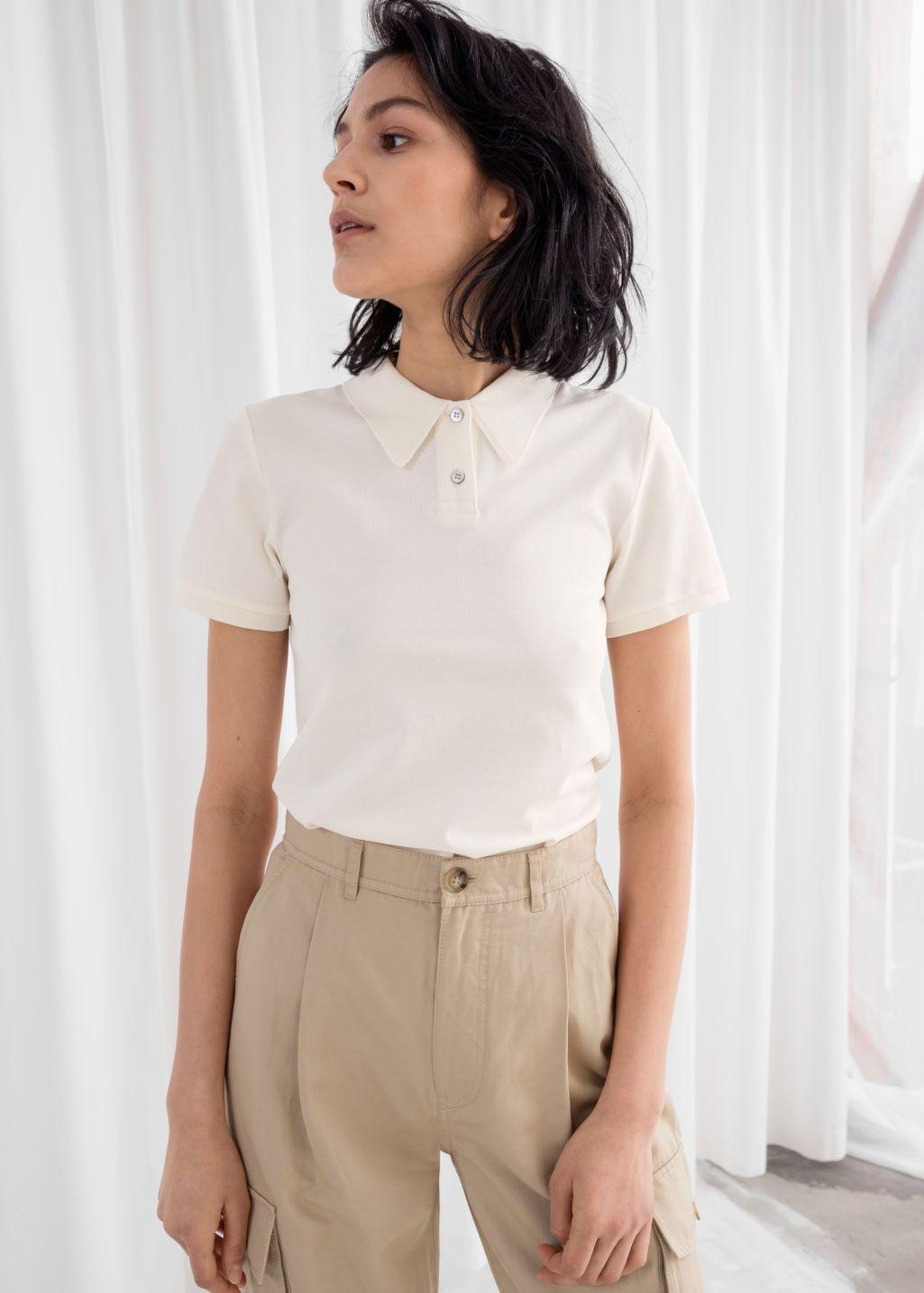 Cotton Polo T-Shirt   Polo outfits for women, White polo outfit ...