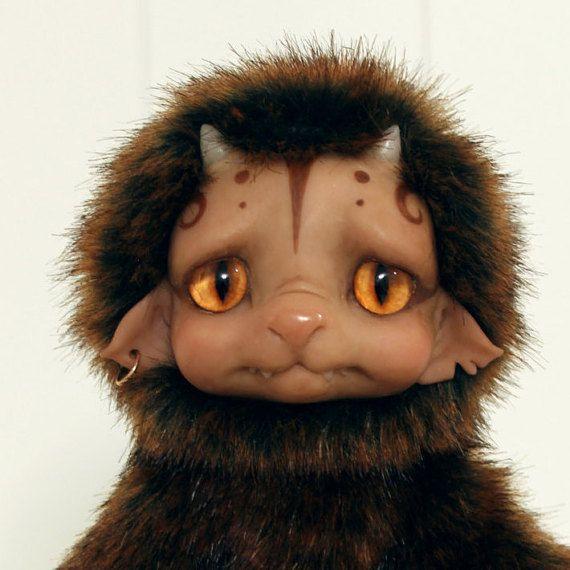 Little Brown Monster  Poseable OOAK Art Doll от Lamapie на Etsy