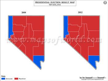 Nevada Election Results Map 2008 Vs 2012 | USA President\'s Election ...